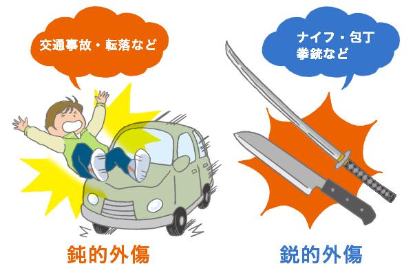 交通事故・転落などの鈍的外傷とナイフや包丁、拳銃など鋭的外傷の比較を表す図。