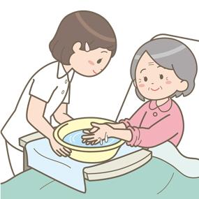 臥床状態の高齢患者さんが、湯をはった洗面器で自分の手を洗っているイラス