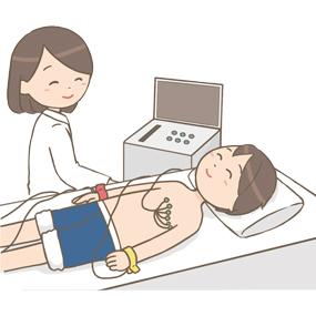 心電図検査をしている患者さんのイラスト
