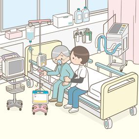 ICUで術後初めて離床する患者さんと理学療法士のイラスト