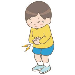 腹痛を訴える幼児(男子)のイラスト