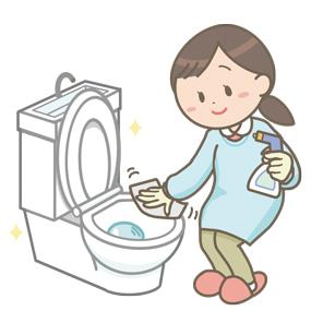 エプロンと手袋を装着して、トイレ掃除をするお母さんのイラスト