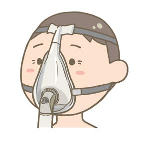 NPPVの口鼻マスクをつけている患者のイラスト