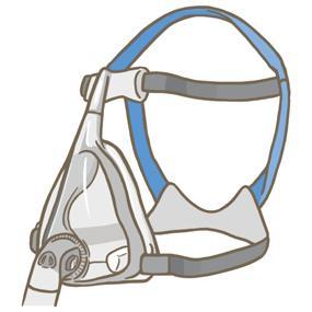 NPPV(インターフェイス)の口鼻マスクのイラストです。気管挿管や気管切開をせず、一定の圧力や決められた量の空気を肺に送る人工呼吸器のマスクです。