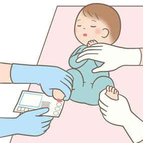 新生児マススクリーニング検査をしているイラスト