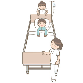 看護師がベッドに臥床している患者を移送するイラスト