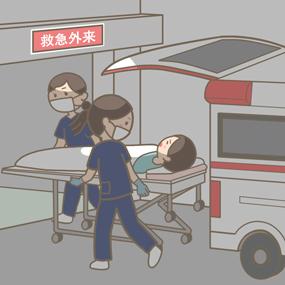 看護師さんが救急車で搬送された患者さんをストレッチャーに乗せて移送しているイラストです。