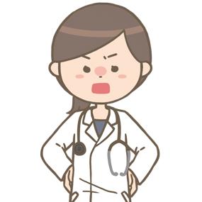 怒っている女性医師(ロングヘア)のイラスト※上半身