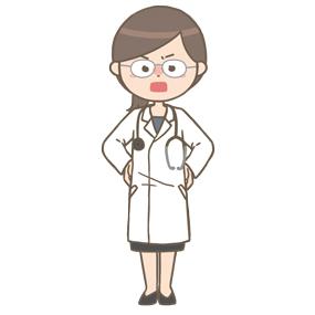 怒っている女性医師(メガネ)のイラスト