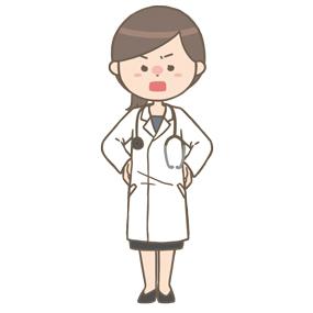怒っている女性医師(ロングヘア)のイラスト
