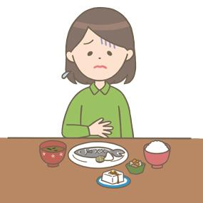 食欲不振の女性のイラスト