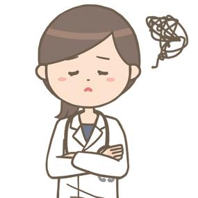 女性医師(ロングヘア)が腕を組んで悩んでいるイラスト※上半身