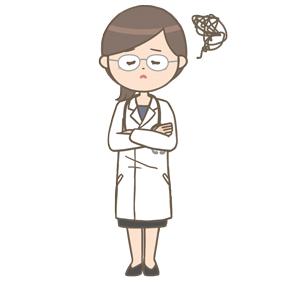 女性医師(メガネ)が腕を組んで悩んでいるイラスト