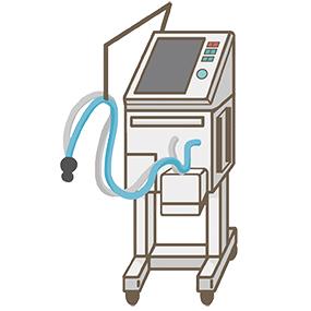 人工呼吸器のイラストです。呼吸困難の患者さんの肺に空気(ガス)を機械的に送り込むことができます。
