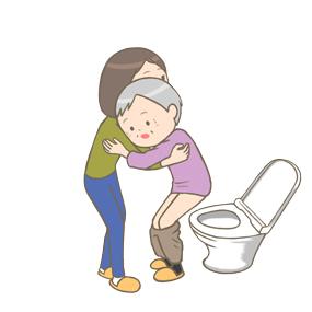 トイレの介助をしている家族のイラスト