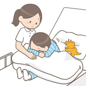 喘息の小児(男子)が起坐位になっているイラスト