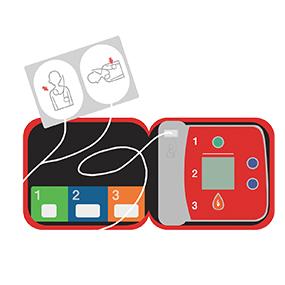 心臓に電気ショックを与えるAED(自動体外式除細動器)のイラストです。電極パッドや機械が見えるように開いている様子を表しています。