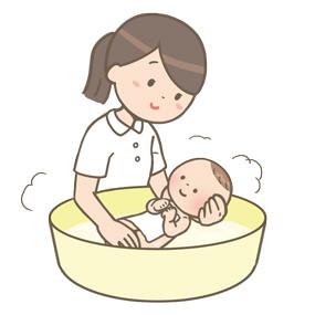 看護師が赤ちゃんを沐浴しているイラスト