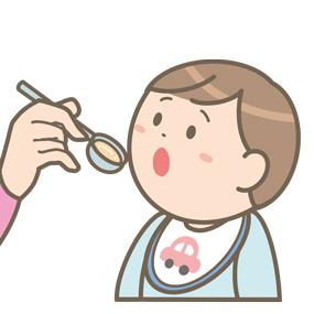 食行動の自立過程(5~6ヶ月)のイラスト