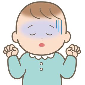 低血糖症状のため顔面蒼白になっている赤ちゃんのイラスト