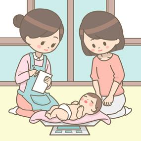 赤ちゃん訪問のイラストです。母親と保健師が赤ちゃんの様子を話したり、相談している様子です。