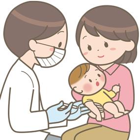 生後2か月で初めての予防接種を受ける赤ちゃんのイラスト