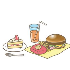 バランスの悪い食事のイラスト