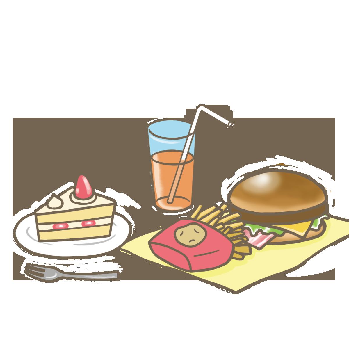 バランスの悪い食事のイラストフリー素材看護rooカンゴルー