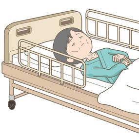 栄養状態の悪い寝たきりの高齢者のイラスト
