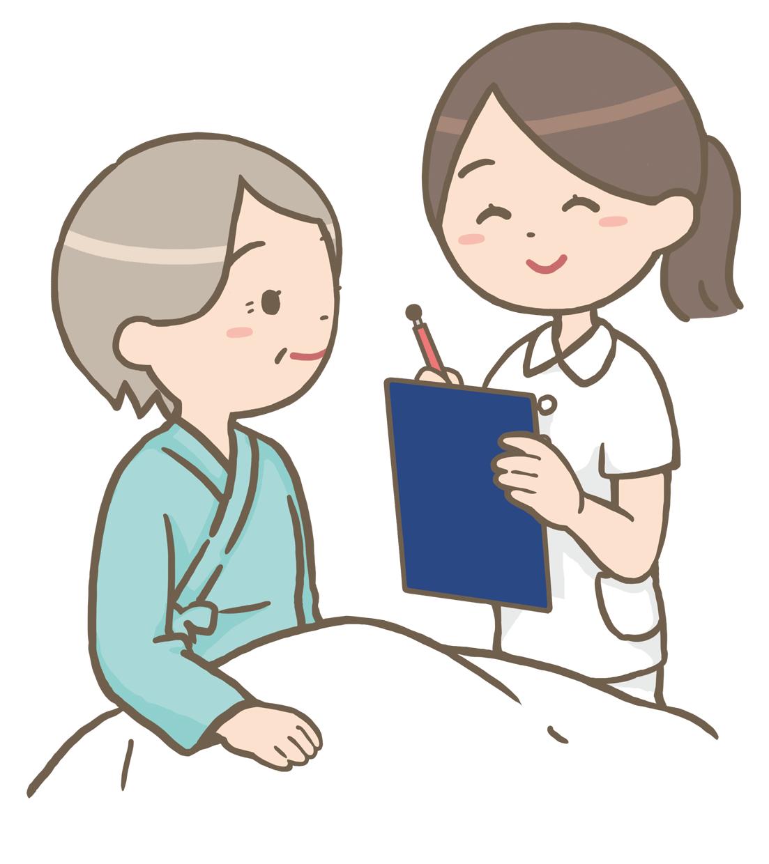 患者のベッドサイドをラウンドする看護師のイラストフリー素材