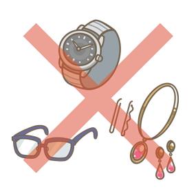 検査前に外すもの例のイラストです。腕時計やメガネ、アクセサリー類を外すことを示しています。
