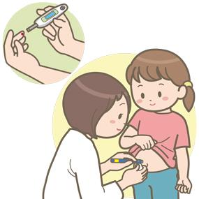 血糖測定しインスリンを打つ子供のイラスト