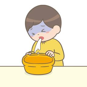嘔吐をする幼児(男子)のイラスト