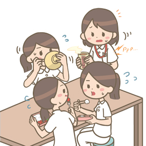 忙しさのあまり食事休憩も慌ただしい看護師たちのイラストです。