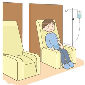 ガン(癌)の治療のため、抗がん剤を用いた化学療法(薬物療法)を受けている患者さんのイラストです。