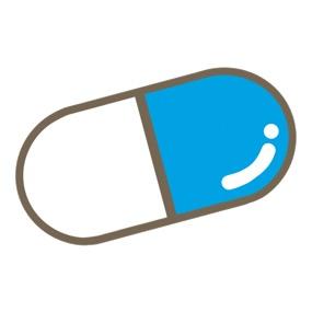 青色のカプセル薬のイラスト