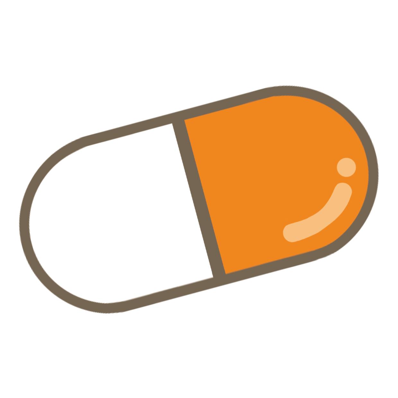 オレンジ色のカプセル薬のイラストフリー素材看護rooカンゴルー