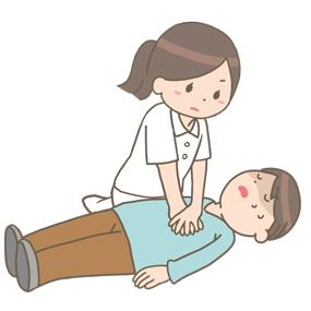心肺蘇生を行う看護師のイラスト