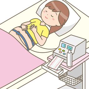 CTGモニタリングを行う妊婦さんのイラスト