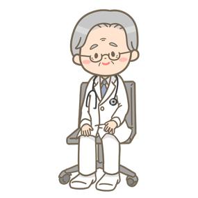 メガネをかけた高齢の男性医師のイラスト