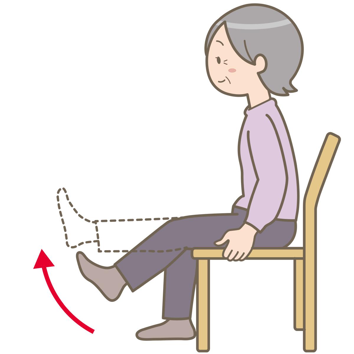 椅子に座って膝を伸ばしている高齢女性のイラストフリー素材看護