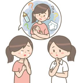 育児に悩み泣いているお母さんの相談に乗る看護師のイラスト