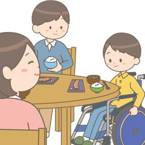 車椅子に乗りながら自宅で生活している学童(男の子)のイラスト