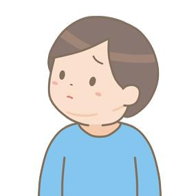流行性耳下腺炎で耳下腺が腫れている幼児(男子)のイラスト
