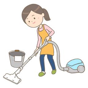 掃除をする女性のイラスト