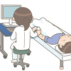 臨床検査技師が神経伝導速度検査を実施しているイラスト