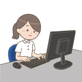 パソコン(デスクトップPC)を操作している看護師のイラストです。