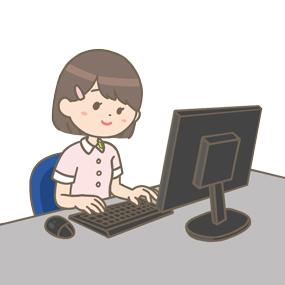 パソコンを操作する看護学生のイラスト