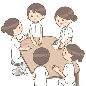 看護師が5人集まってカンファレンスをしているイラスト