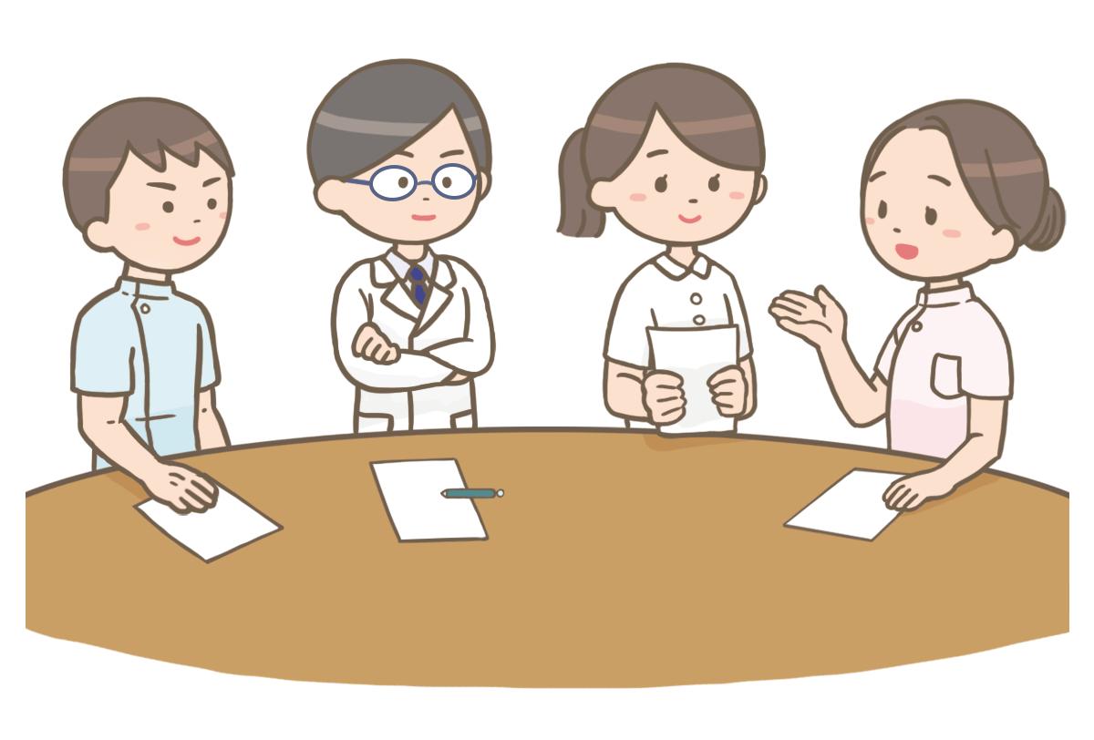様々な医療関係者がカンファレンスしているイラスト🎨【フリー素材
